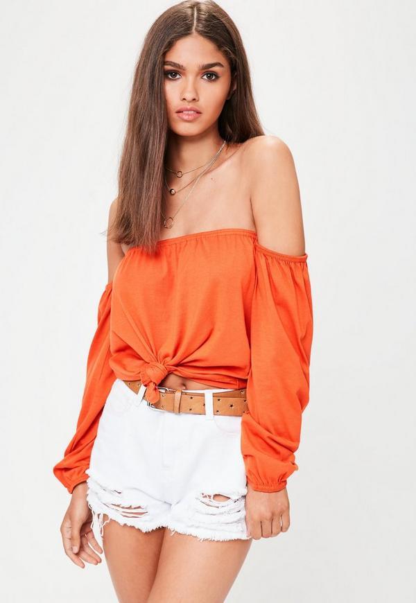 Orange Bardot Tie Front Crop Top