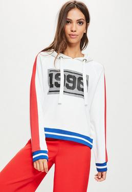 White 1990 Contrasting Mesh Cropped Hoodie