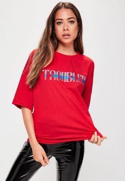 Red Troubled Slogan T-Shirt