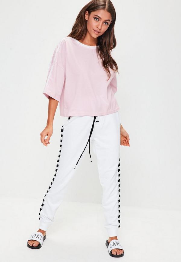 Pink Contrast Shoulder Stripe Crop T Shirt