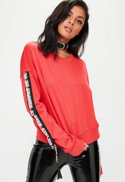 Red Extreme Slogan Trim Cropped Sweatshirt