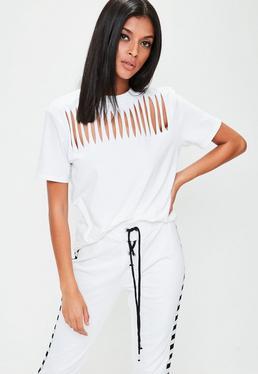 White Slash Neck Detail T-Shirt