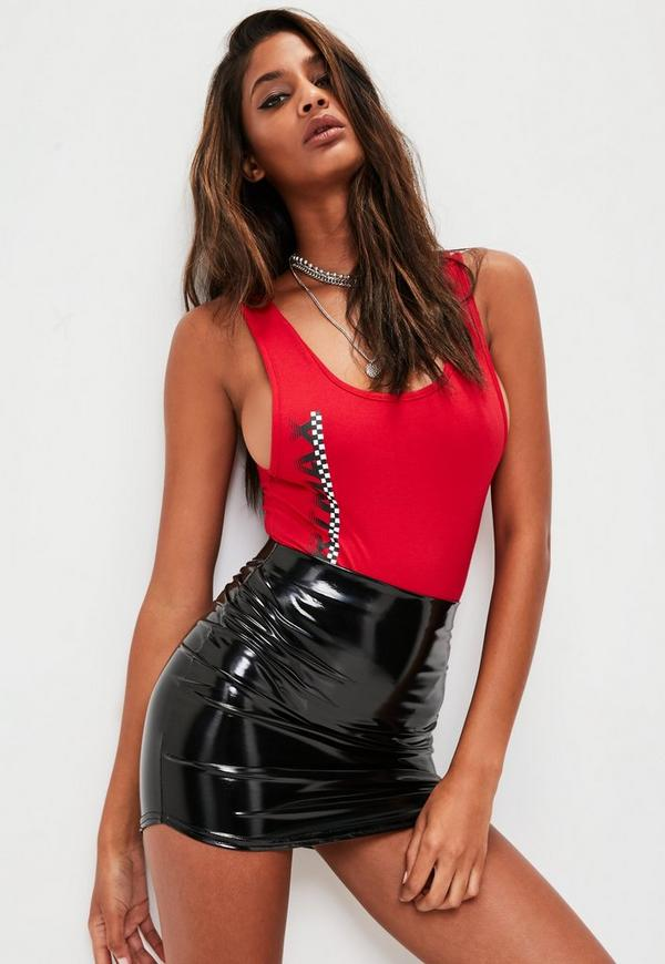 Red Sportmax Graphic Scoop Neck Bodysuit by Missguided