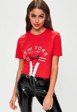 Top de eslogan New York con corsé en rojo