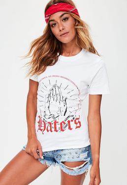 Biały T-Shirt z nadrukiem Haters i gorsetowym wiązaniem