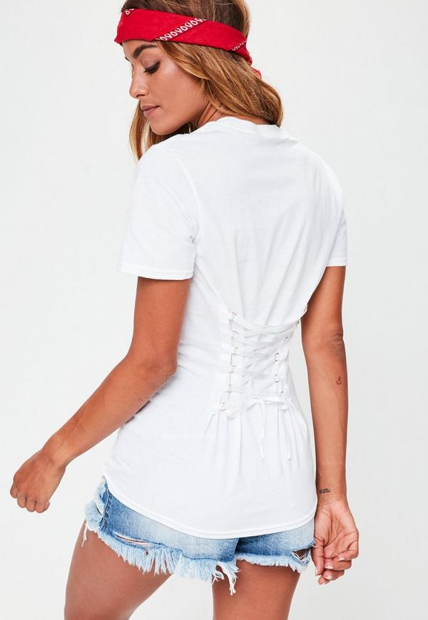 White Haters Graphic Corset Back T-Shirt | Missguided