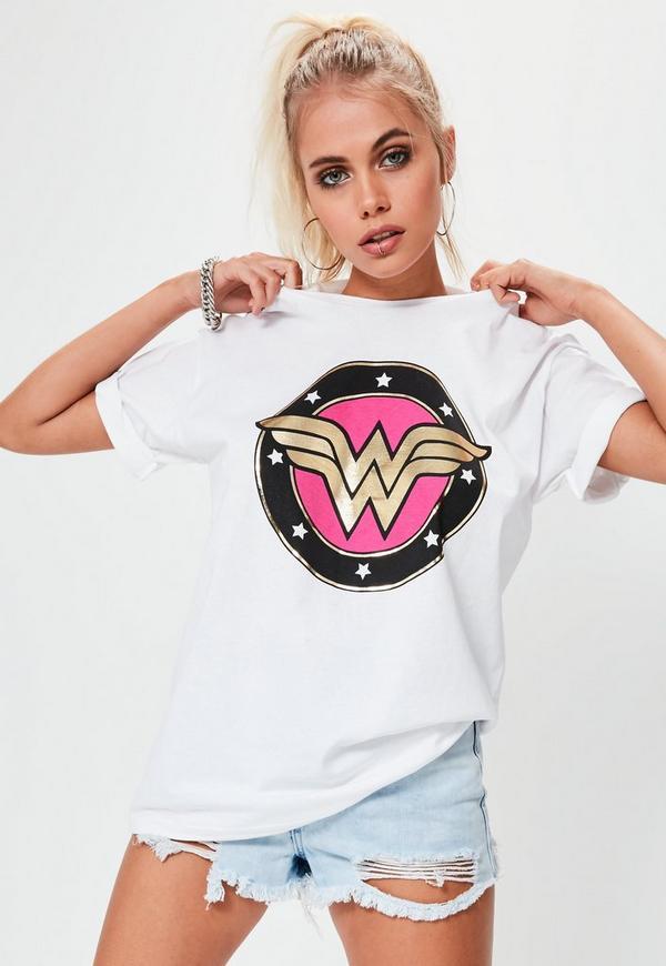 White Wonder Woman Metallic Graphic T-Shirt