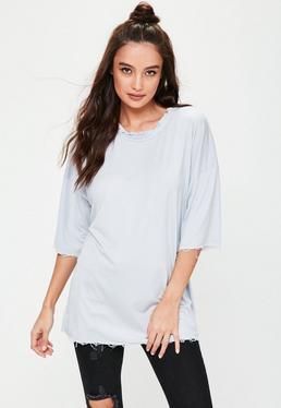 Grey Oversized Distressed T-shirt