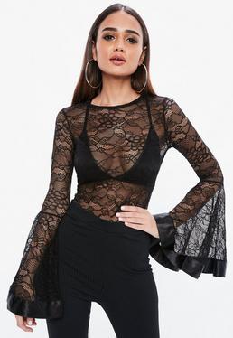 Black Flare Sleeve Lace Bodysuit