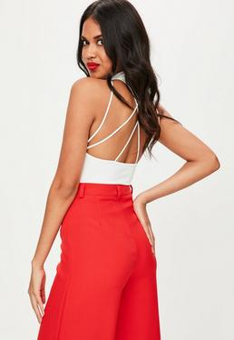 White Cross Back Halter Neck Bodysuit