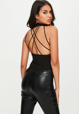 Black Cross Back Halter Neck Bodysuit