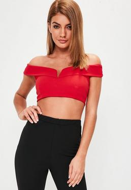 Red V Bar Bandeau Bralet