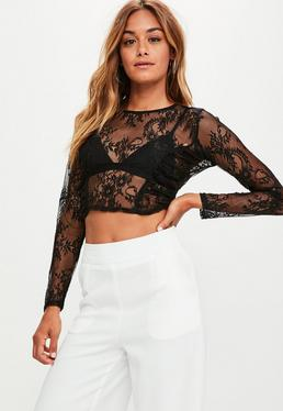 Black Ruched Panel Lace Crop Top