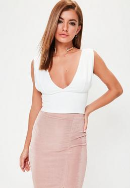 White Plunge Front Crop Top