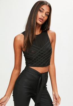 Black Lattice Bandage Mesh Crop Top