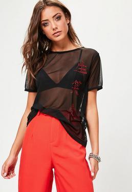 Black Chinese Diamante Mesh T-Shirt