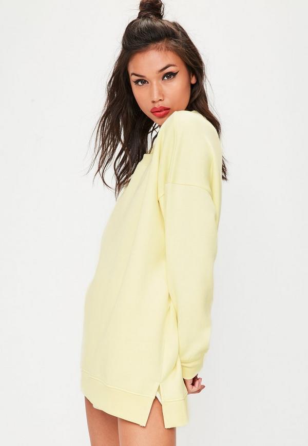 Yellow Oversized Basic Sweatshirt