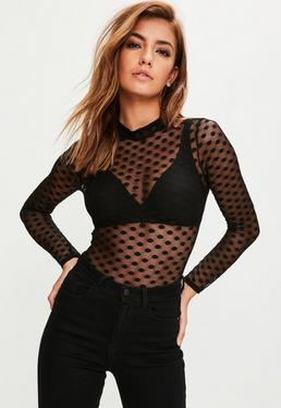 Black Mesh Polka Dot Bodysuit