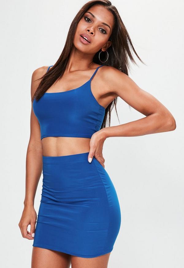 Blue Slinky Strappy Bralet