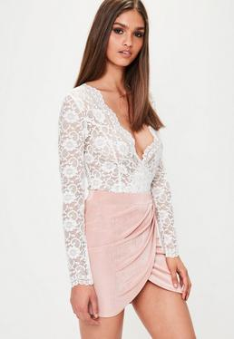 White Scallop Lace Long Sleeve Bodysuit