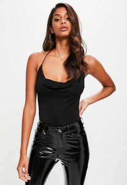 Black Cowl Front T Back Bodysuit