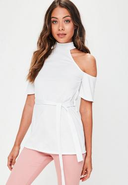 White Cold Shoulder Tie Waist Tunic Top