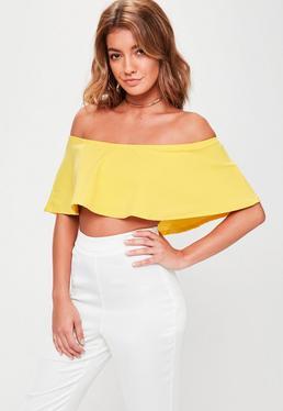 Yellow Frill Bardot Crop Top