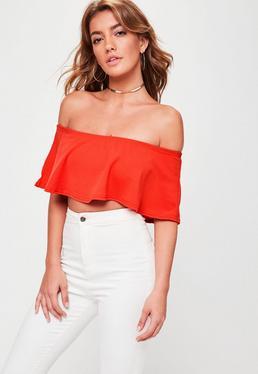 Red Frill Bardot Crop Top
