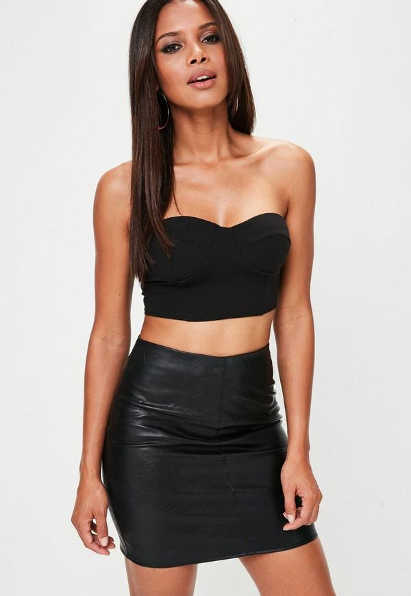 Black Padded Cup Bandeau Bralet by Missguided