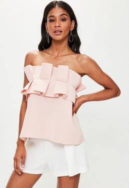 Nude Gathered Strapless Bandeau Top