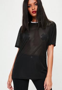 Black Sport Neck Mesh T-Shirt
