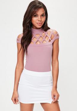 Pink Lazer Cut High Neck Bodysuit