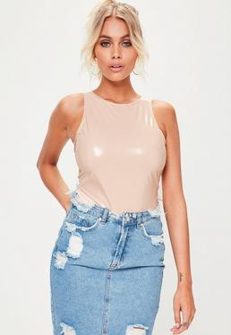 Nude Scoop Back Vinyl Bodysuit