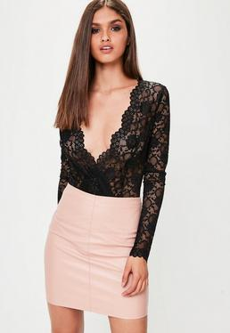 Black Scallop Lace Long Sleeved Bodysuit