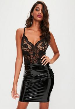 Black Strappy Lace Bodysuit