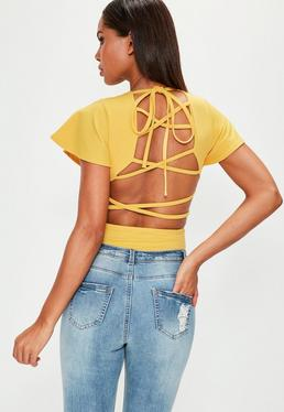 Yellow Flared Sleeve Lace Up Back Bodysuit