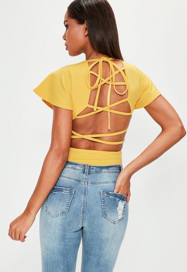 Yellow Flared Sleeve Lace Up Back Bodysuit