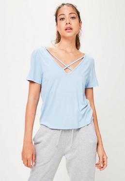 Niebieski luźny T-Shirt z dekoltem V
