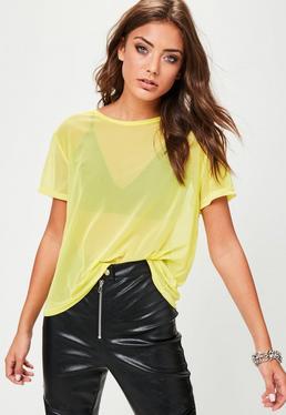Żółty T-Shirt z siateczki