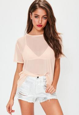 Mesh T-Shirt in Nude