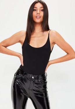 Black Slinky Scoop Neck Bodysuit