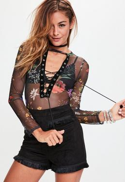 Black Floral Velvet Trim Lace Up Mesh Bodysuit