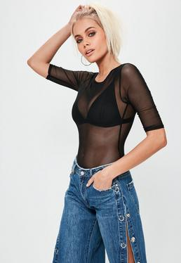 Black Short Sleeve Round Neck Mesh Bodysuit