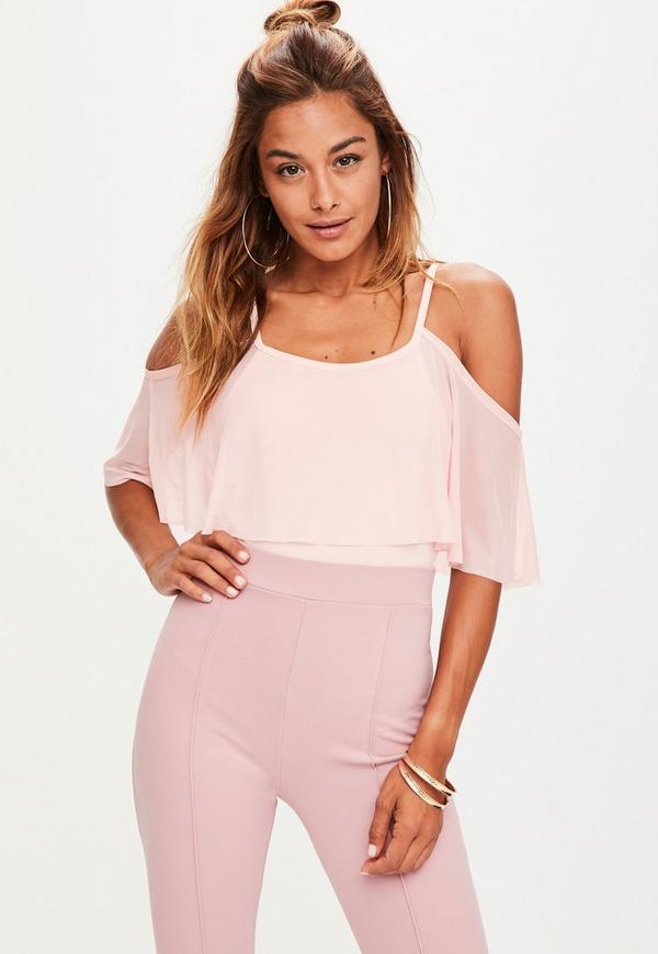 Pink Cold Shoulder Frill Mesh Bodysuit