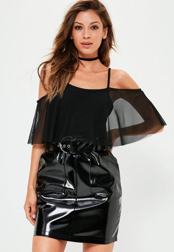 Black Cold Shoulder Frill Mesh Bodysuit