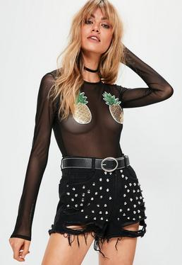 Black Sequin Pineapple Applique Mesh Bodysuit