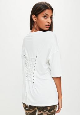Weißes Oversize Lace-Up Corsagen T-Shirt