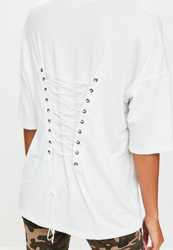 White Oversized Corset Lace Up T-Shirt | Missguided