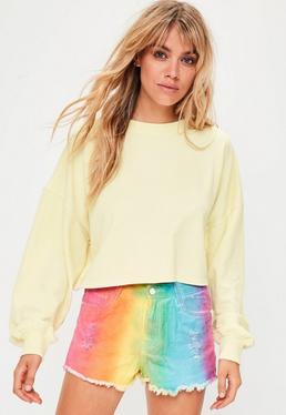 Yellow Crew Neck Cropped Sweatshirt