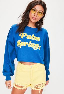 Blue Palm Spring Crew Neck Cropped Sweatshirt